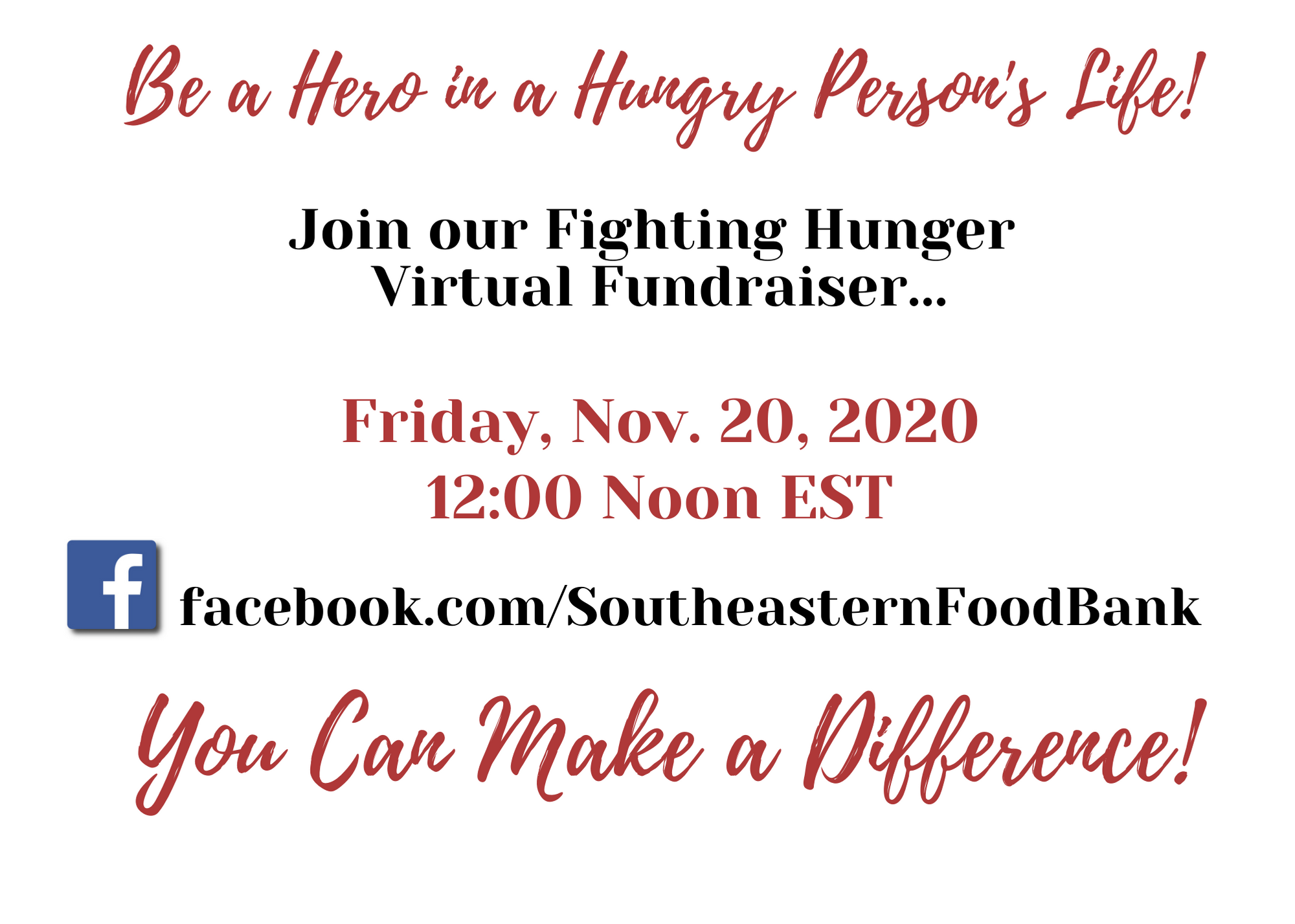 Southeastern Food Bank – Fighting Hunger Virtual Fundraiser